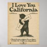 Eu te amo Califórnia Poster