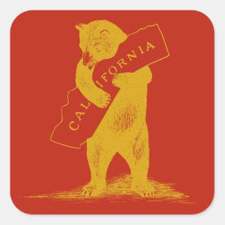 Eu te amo Califórnia--Vermelho e ouro Adesivo Quadrado