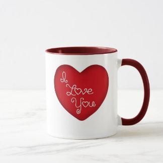 Eu te amo caneca de café vermelha da campainha do
