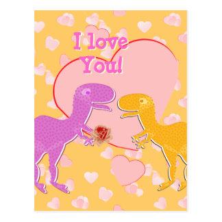 Eu te amo cartão bonito dos dinossauros de T-Rex