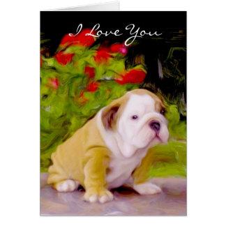 Eu te amo cartão da arte do filhote de cachorro do