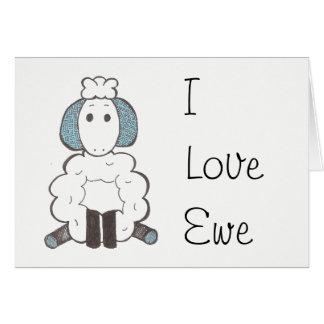 Eu te amo - cartão da ovelha do amor de I