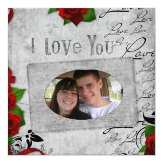 Eu te amo cartão de cumprimento da foto convite quadrado 13.35 x 13.35cm