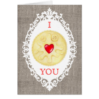 Eu te amo cartão de cumprimentos Jammy do biscoito
