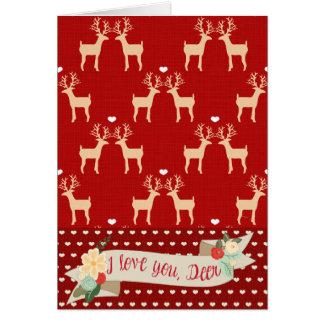 Eu te amo, cartão de Natal dos cervos (vermelho)