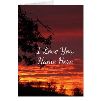 Eu te amo cartão de nota customizável do por do
