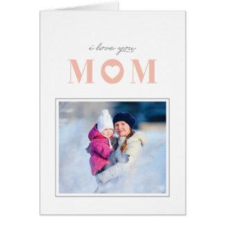 Eu te amo cartão do dia das mães - pêssego cartão comemorativo