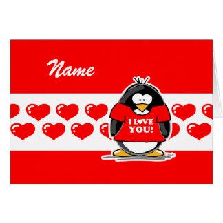 Eu te amo cartão do pinguim