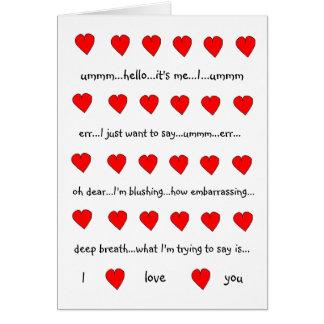 Eu te amo cartão dos namorados (estilo de Hugh