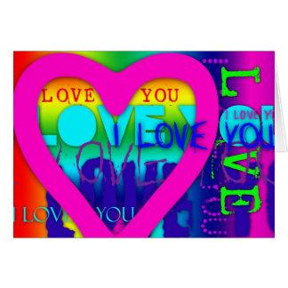 Eu te amo cartão elétrico do pop art das cores