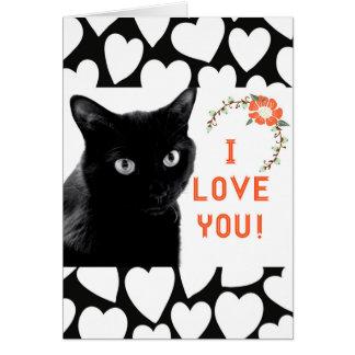 """""""Eu te amo"""" cartões de nota do gato"""
