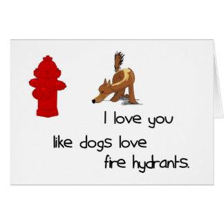 Eu te amo como o cartão das boca de incêndio de