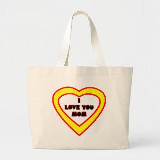 Eu te amo coração amarelo brilhante da MAMÃ o MUSE Bolsa Para Compras