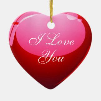 Eu te amo coração vermelho ornamento de cerâmica coração