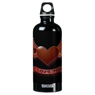 Eu te amo coração voado garrafa d'água de alumínio