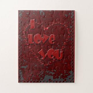 Eu te amo corações sobre o quebra-cabeça de serra
