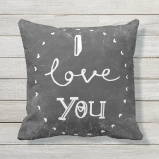 Eu te amo coxim do pátio do giz ou travesseiro da almofada