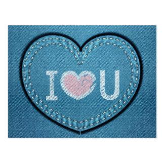 Eu te amo design do coração de jeans cartão postal