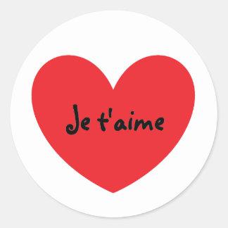 """""""Eu te amo"""" em etiquetas francesas Adesivo"""