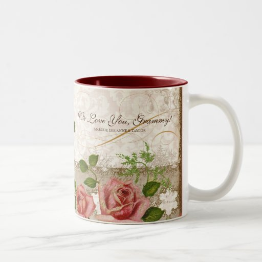 Eu te amo Grammy, caneca inglesa dos rosas do vint