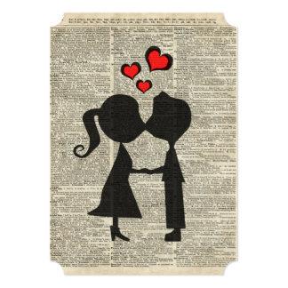 Eu te amo ilustração sobre uma página do convite 12.7 x 17.78cm