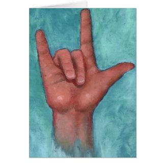Eu te amo: Linguagem gestual americano: ` Da mão Cartão Comemorativo