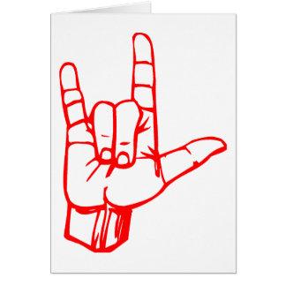 Eu te amo linguagem gestual cartão comemorativo