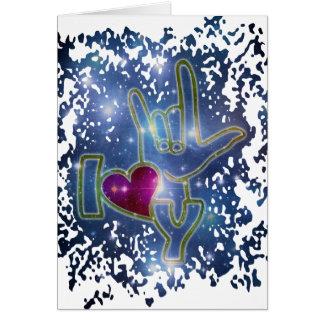 EU TE AMO/linguagem gestual Cartão De Nota