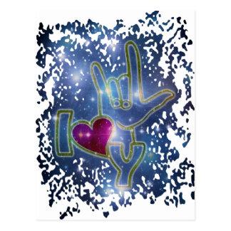 EU TE AMO/linguagem gestual Cartão Postal