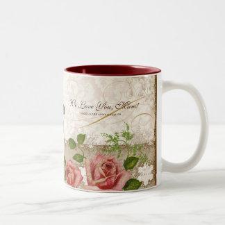 Eu te amo mãe, caneca inglesa dos rosas do vintage