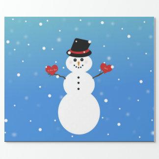 Eu te amo mais boneco de neve papel de presente