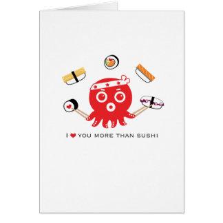 """Eu te amo mais do que cartão amor do sushi 5x7 do"""""""