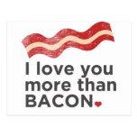 Eu te amo mais do que o bacon cartões postais