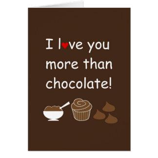 Eu te amo mais do que o cartão do chocolate