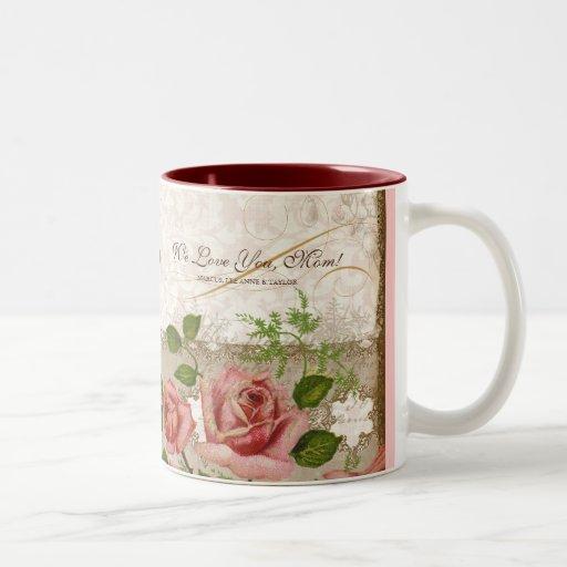 Eu te amo mamã, caneca inglesa dos rosas do vintag