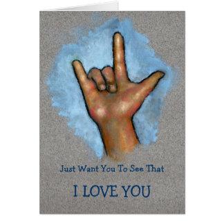 EU TE AMO: Mão que faz o sinal do ASL: Linguagem g Cartões