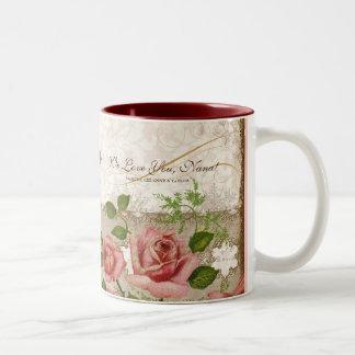Eu te amo Nana, caneca inglesa dos rosas do vintag