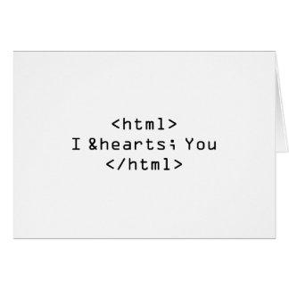 Eu te amo no cartão do HTML