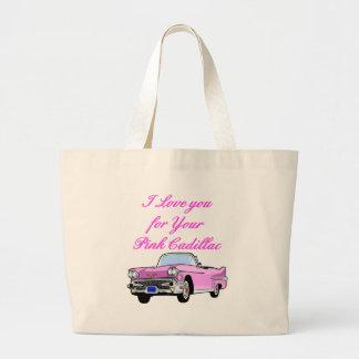 Eu te amo para seu 50 cor-de-rosa do vintage do ca bolsa tote grande
