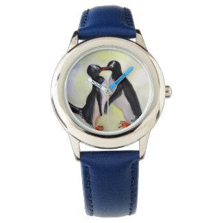 Eu te amo relógio dos pinguins