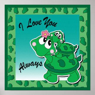 Eu te amo sempre - Momma & tartarugas do bebê Pôster