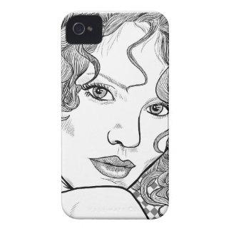 eu telefono ao desenho de 4, de preto & de branco, capinhas iPhone 4