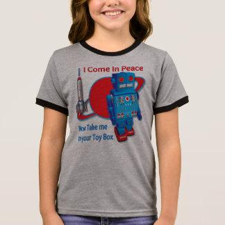 Eu venho na camisa do robô T da paz