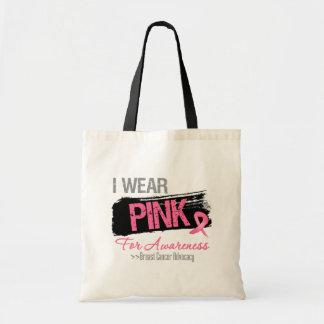 Eu visto a fita cor-de-rosa para o cancro da mama bolsas de lona