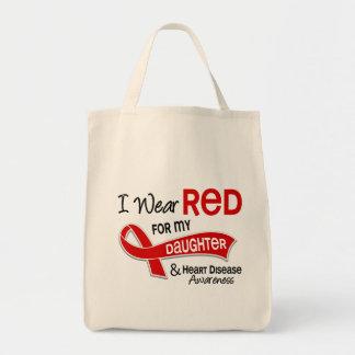 Eu visto o vermelho para minha doença cardíaca da sacola tote de mercado