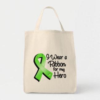 Eu visto uma fita do verde limão para meu herói sacola tote de mercado