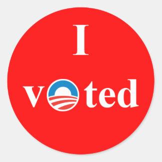 Eu votei para a etiqueta de Obama Adesivos Redondos