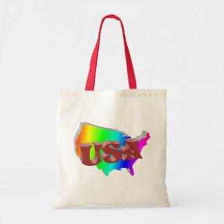 EUA arco-íris+3D vermelha Bolsas
