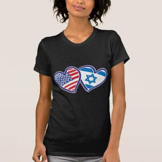 EUA e bandeira do coração de Israel Tshirt