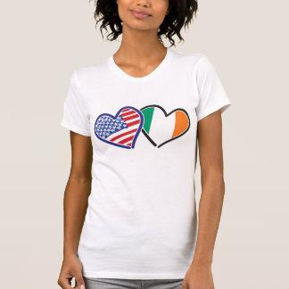 EUA e de AMOR de Ireland corações T-shirt